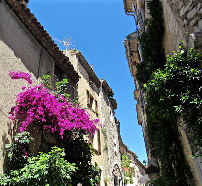 Flowers and stone buildings in St. Paul de Vence