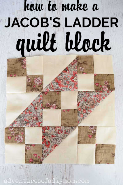 pieced quilt block using squares and triangles