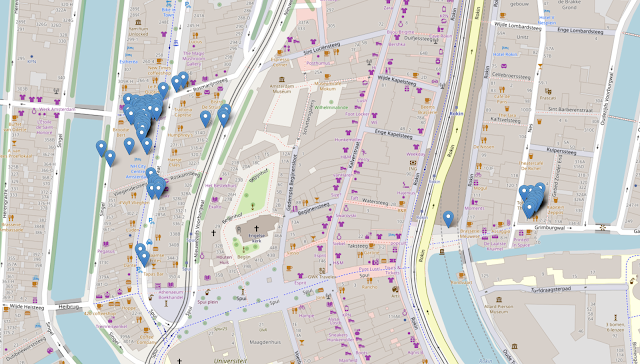 This image shows a map of the Rokin area of Amsterdam. There are map pins dropped for each location ping sent by the implant and received by the command-and-control server. The locations are grouped in to two clusters: on the left is the NH Hotel and the right is a theater. There are further pins dotted around the map making it pretty clear if you zoom in far enough that I went to the happy pig pancake restaurant, de koffiesalon cafe for some espresso, Humphrey's Restaurant, Dante Kitchen and Bar and I also took the train from Rokin station.