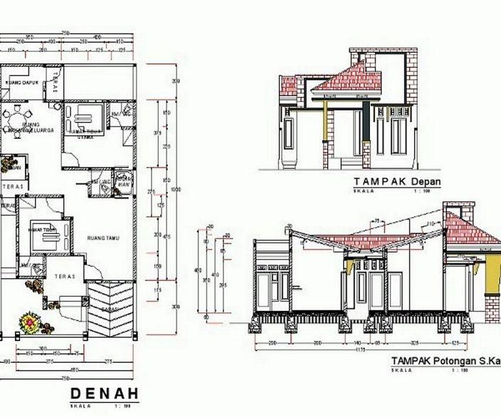 denah rumah sederhana lengkap terlihat menarik