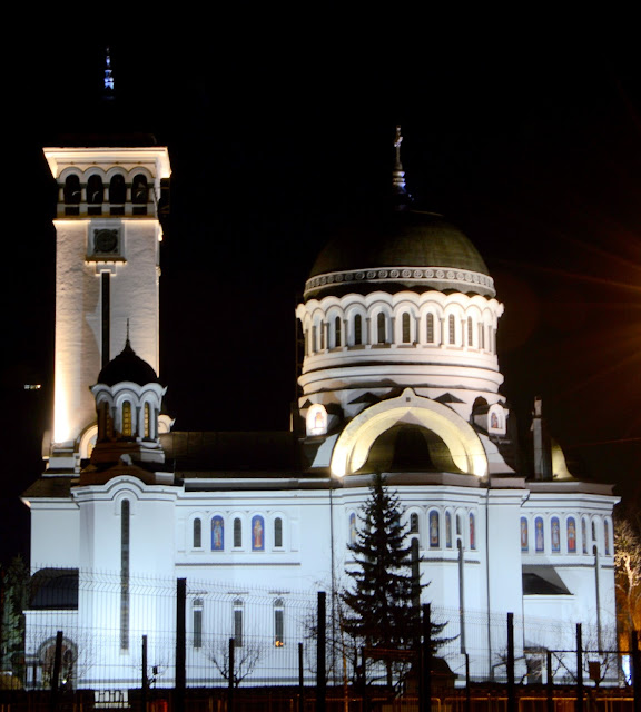 Vista nocturna en Sighisoara