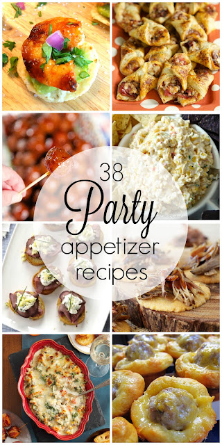 38 Party Appetizer Recipes perfect for Christmas and holiday parties, football, tailgating and super bowl parties and more. Plus tips for staging the perfect cheese board and vegetable tray.