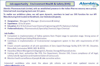 Good opportunity @ Alembic pharma- Apply now