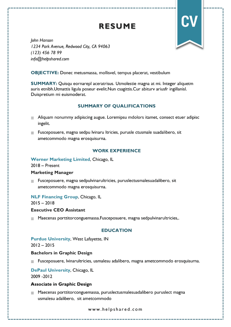 elegant traditional cv resume