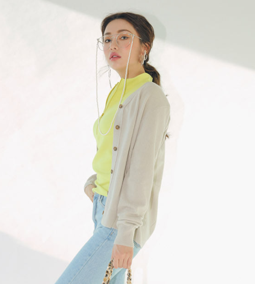 Extended Sleeve Buttoned Front Cardigan
