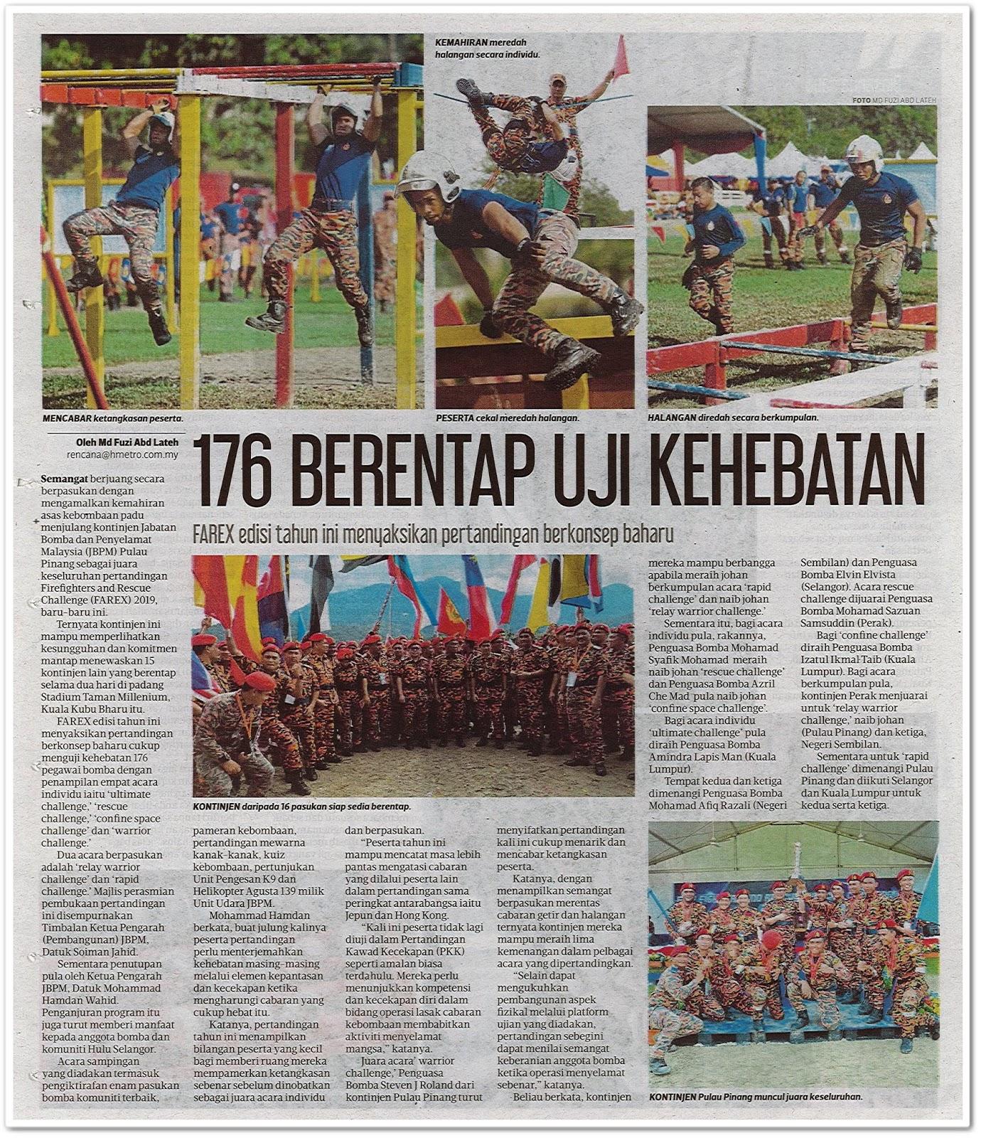 176 berentap uji kehebatan - Keratan akhbar Harian Metro 18 Disember 2019