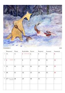 Hulmun ja Haukun kalenterin 2020 tammikuun sivu