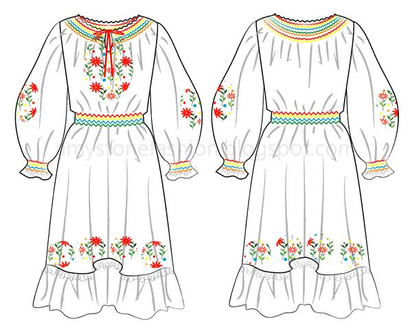 Amy stone fashion flat sketches embroidered folk dress flat fashion embroidered folk dress flat fashion sketch templates 0109 maxwellsz