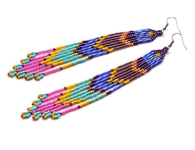 купить Очень длинные серьги из бисера в этно-стиле украшения из бисера