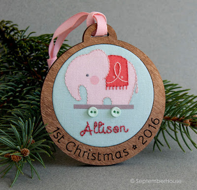 Personalized Baby's First Christmas Holiday Ornament Pink Elephant design
