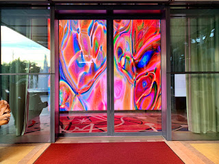 Dynamic video wall installation at the hotel entrance, JW Marriott Singapore Beach Road, 2021
