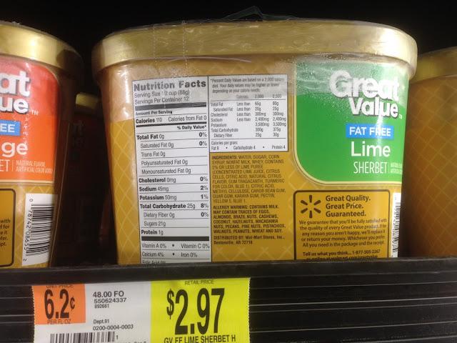 Lime Sherbet, Great Value - Walmart
