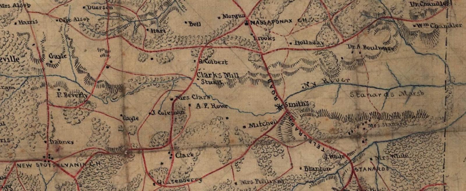 map detail of eastern spotsylvania 1863