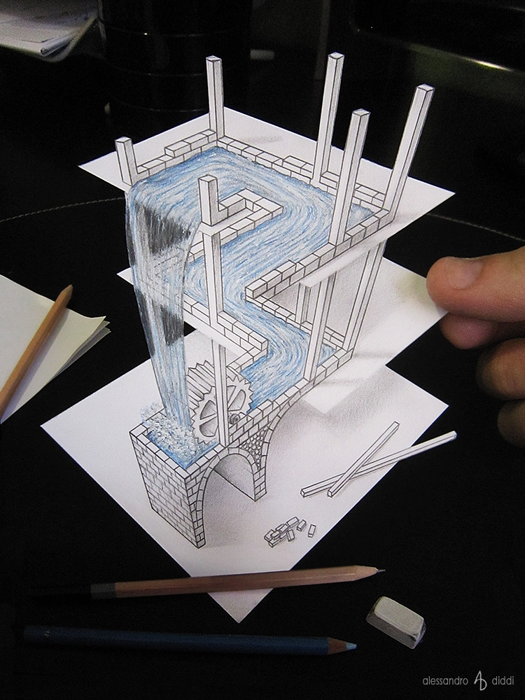 02-Waterfall-Alessandro-Diddi-MC-Escher-Anamorphic-Optical-Illusions-that-look-like-3D-Drawings-www-designstack-co