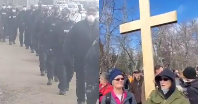 VIDEO: 200 poliziotti armati rompono il servizio della chiesa cristiana in Canada
