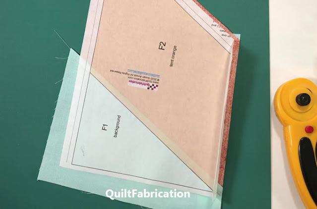 freezer paper foundation pieced tent unit F