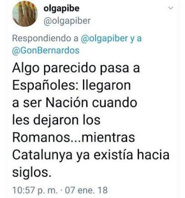 Algo parecido pasa a españoles: Llegaron a ser nación cuando les dejaron los romanos ... Mientras que Catalunya ya existía hacía siglos