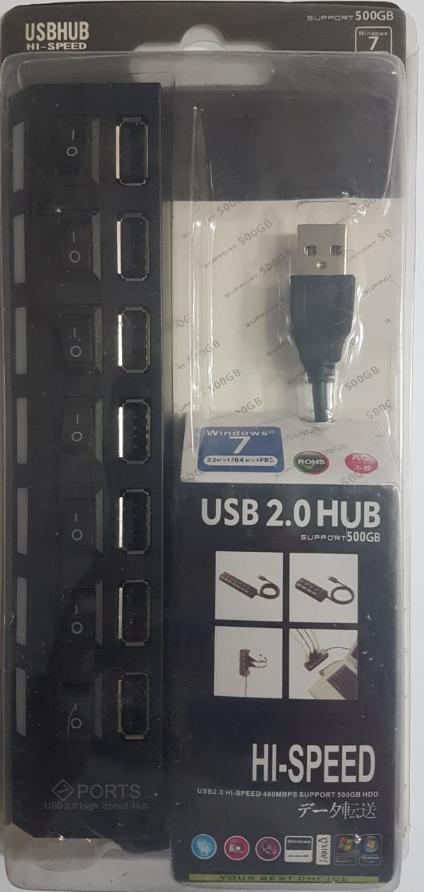 USB HUB 2.0 7 ports with switch and light