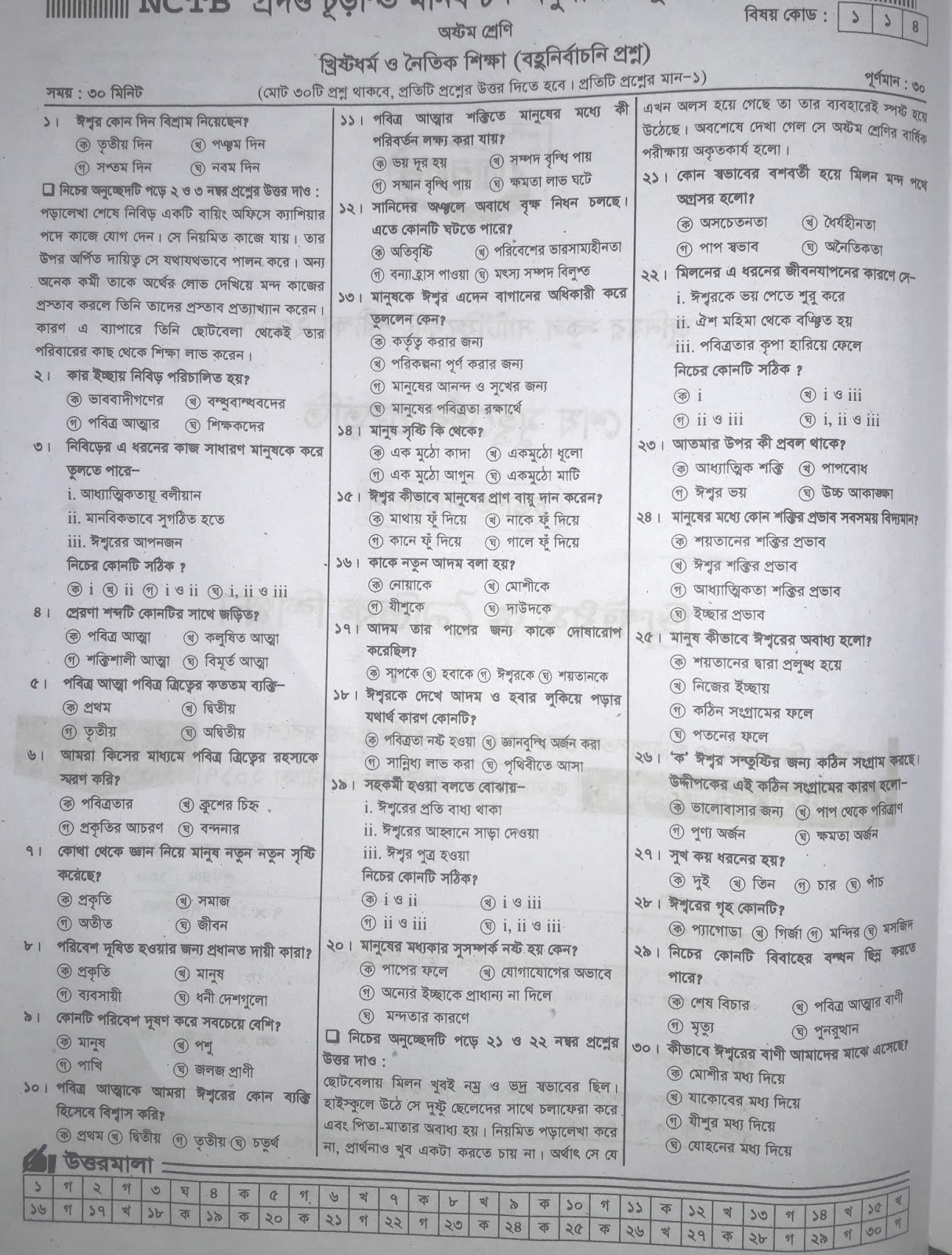 jsc Khristo Dhormo and Moral Education suggestion, exam question paper, model question, mcq question, question pattern, preparation for dhaka board, all boards