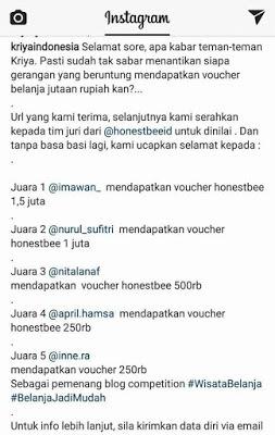 Pengumuman Pemenang Lomba Wisata Belanja Seru di Museum Tekstil Jakarta Bersama Honestbee Nurul Sufitri Travel Lifestyle Blog Review
