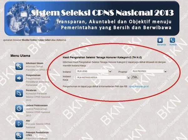 Pengumuman Kelulusan CPNS Honorer K2 2013 di http://sscn ...