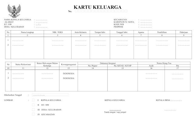 Form Kartu Keluarga Sementara dari Desa