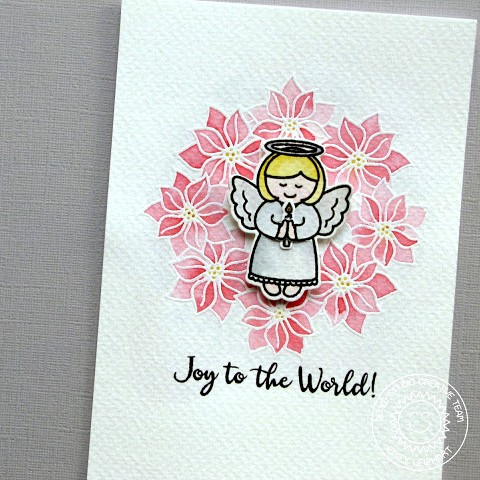 Sunny Studio Stamps: Little Angels & Christmas Icons Poinsettia Wreath Card by Emily Leiphart.
