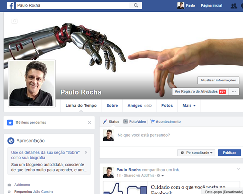 Facebook do Paulo Rocha
