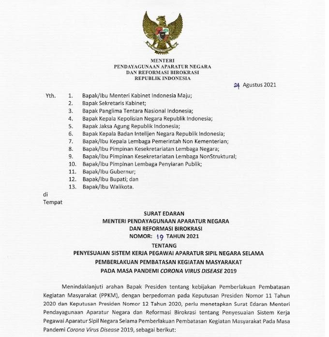 Level PPKM di Sejumlah Daerah Turun, Menteri PANRB Terbitkan SE Sistem Kerja ASN Baru