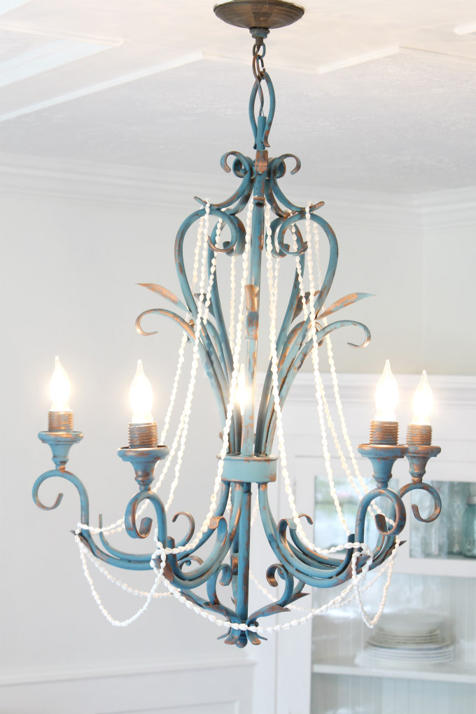 rustic beach house chandelier makeover