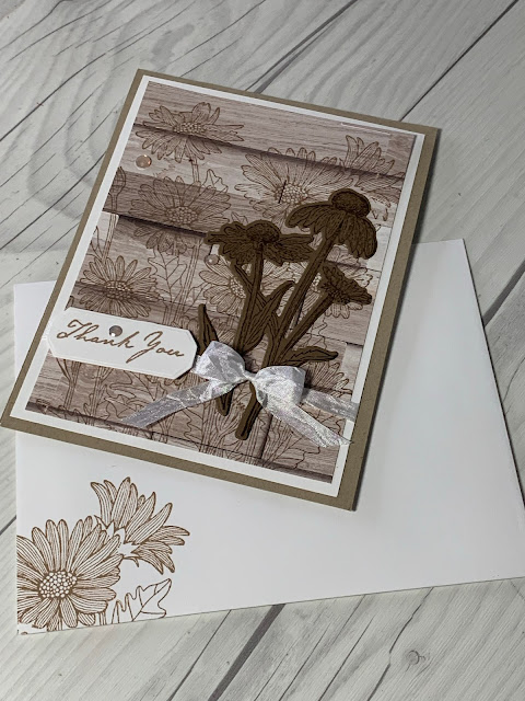 Daisy-themed handmade Thank You Card using Natures' Harvest Bundle from Stampin' Up!