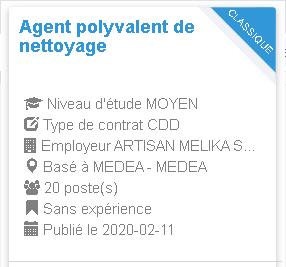 Agent polyvalent de nettoyage Employeur : ARTISAN MELIKA SMAIL