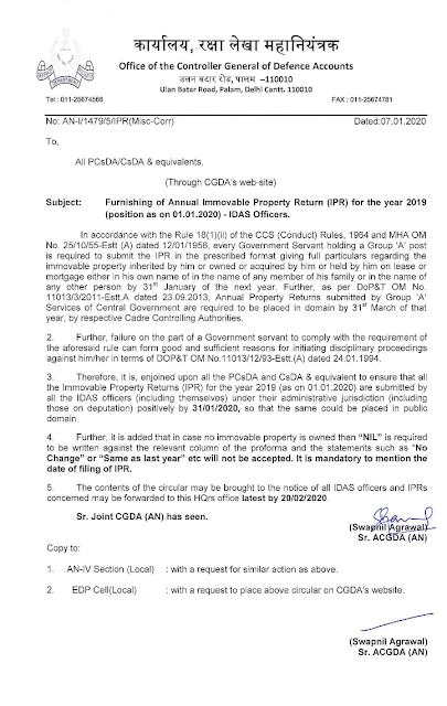 cgda-annual-immovable-property-return-for-2019-idas-officers