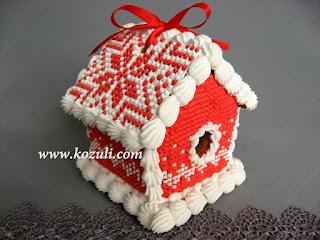 """Пряничный домик своими руками. Новогодний пряничный домик Красный """"вязаный"""", видео мастер-класс"""