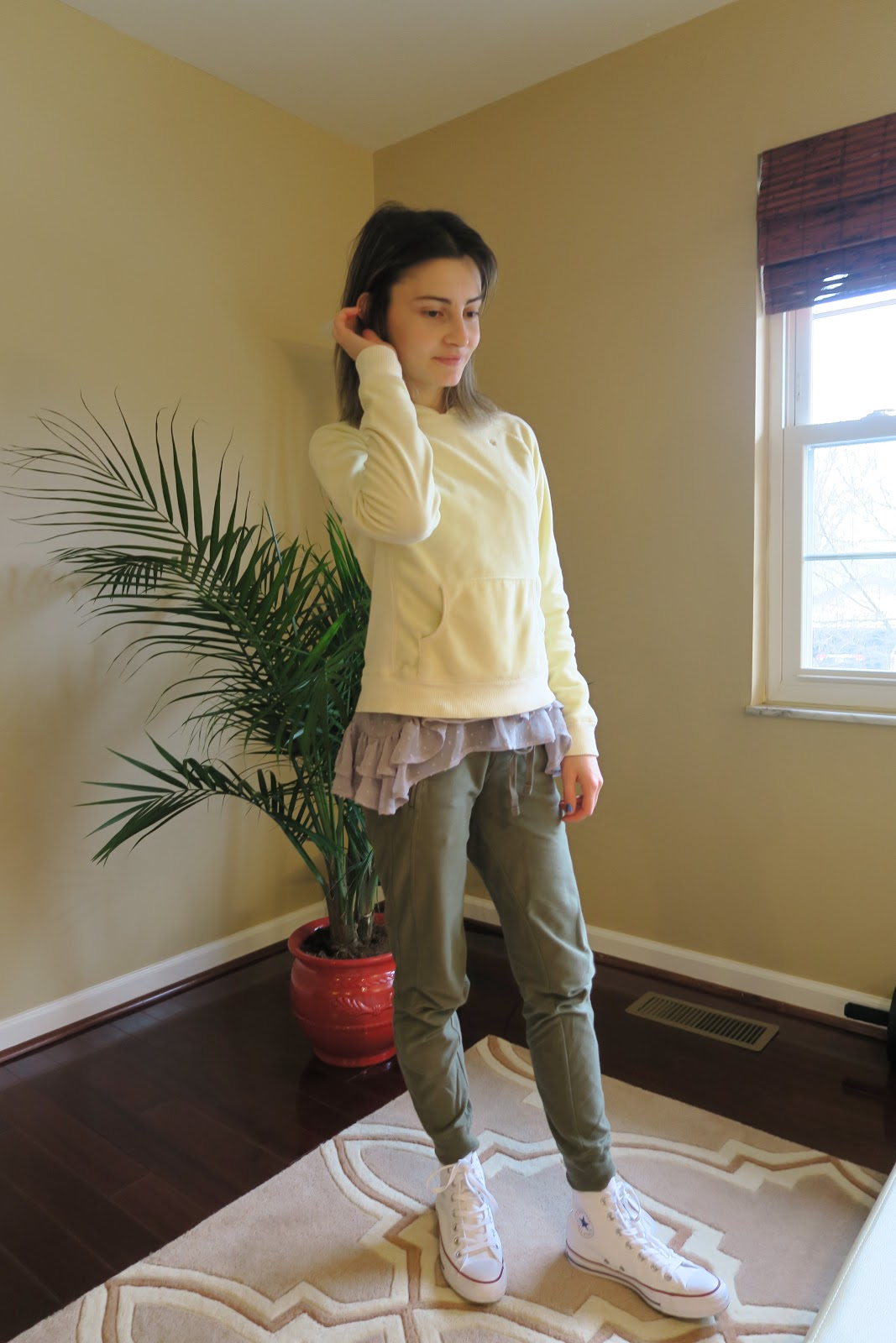 Olive Green Joggers, Ruffles, Sweatshirt, Duckling Yellow, Fashion, White High Top Converse, Casual Attire, OOTD, Street Style, Simplistic, Fashion, Style, Photography, Blogger