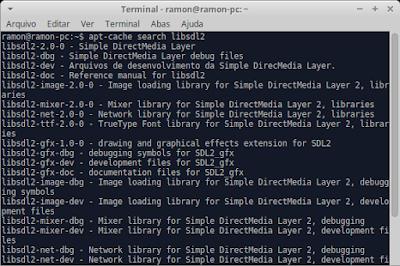 "Terminal com o comando ""apt-cache search libsdl2"""