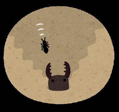 アリジゴクの巣のイラスト