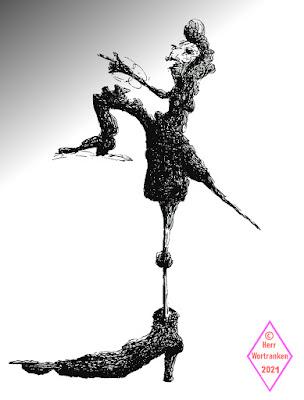 Schwarzweiß Tuschezeichnung eines barocken hochnäsigen Herrn mit extrem unterschiedlich großen Füßen und Beinlängen, im Profil gezeichnet.