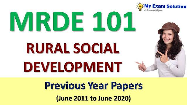 MRDE 101 RURAL SOCIAL DEVELOPMENT Previous Year Papers