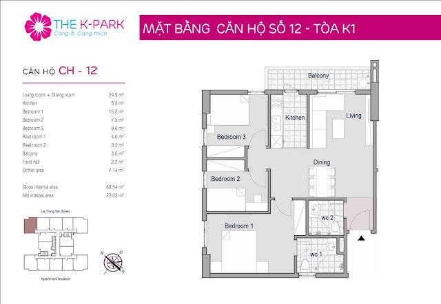 Căn hộ 12, 83m2, 03 phòng ngủ