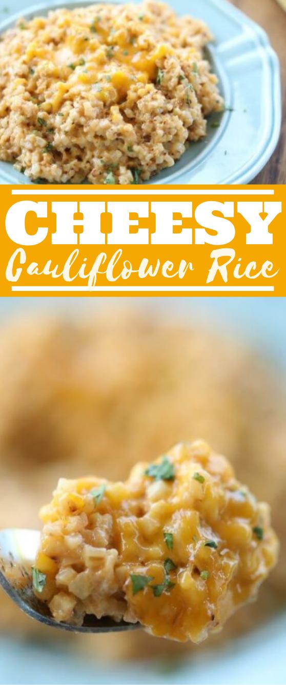 Easy Cheesy Cauliflower Rice #lowcarb #recipes #healthy #keto #cauliflower