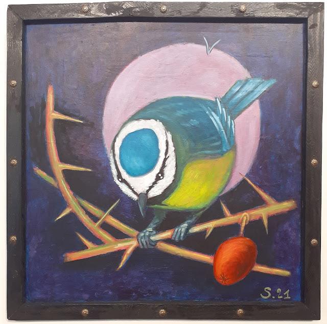 Peinture en technique mixte, huile et acrylique, d'oiseau. oil painting