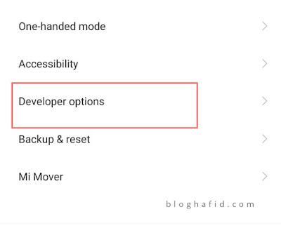 Menu developer opsi