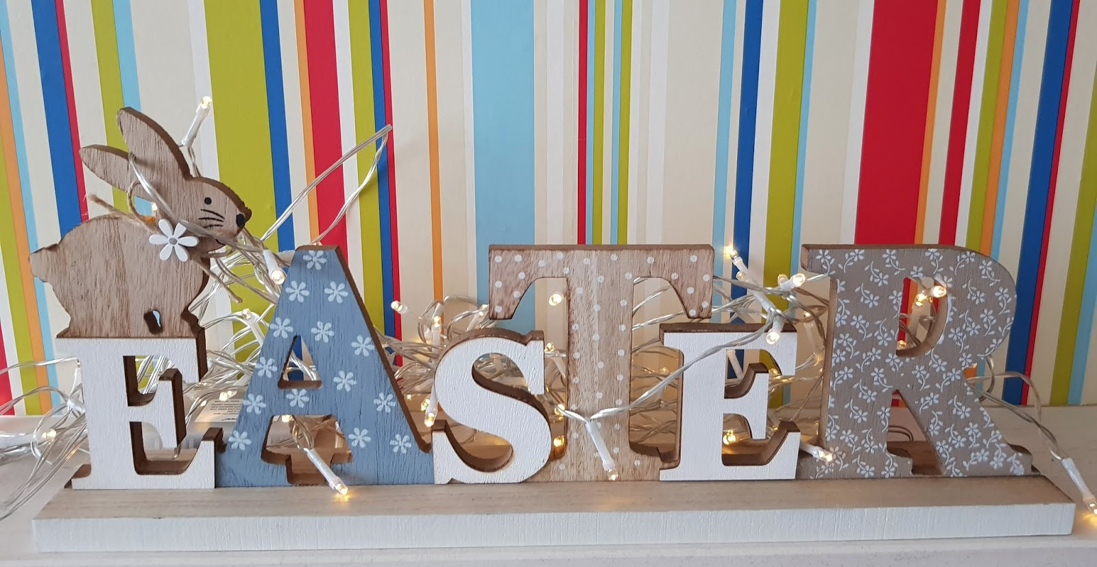 Easter folk art sign with battery powered fairy lights