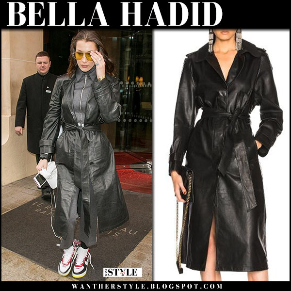 Bella Hadid in black leather trench coat miss sixty fashion week style march 2018