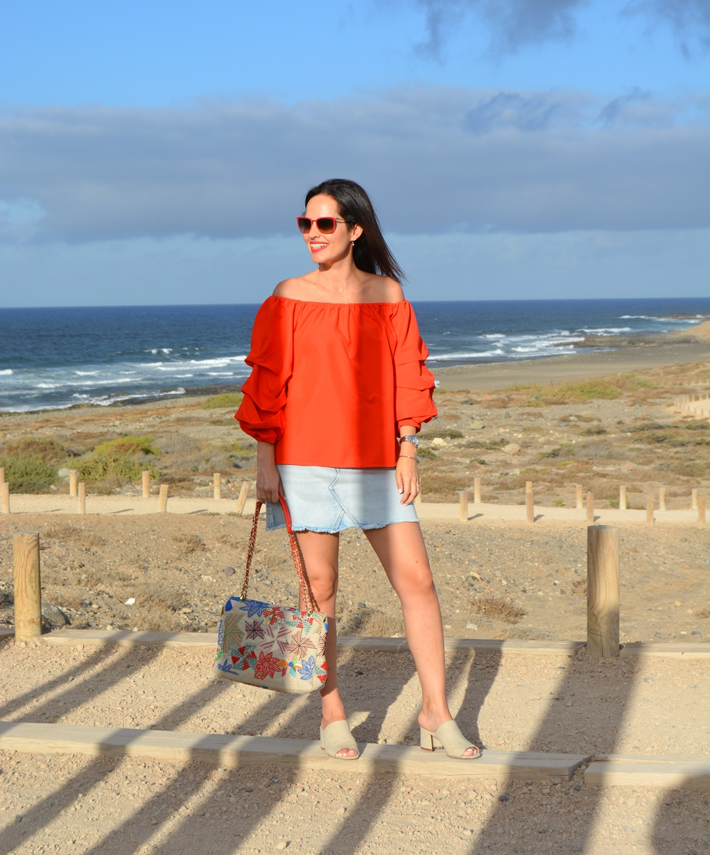 red-off-shoulder-blouse-outfit