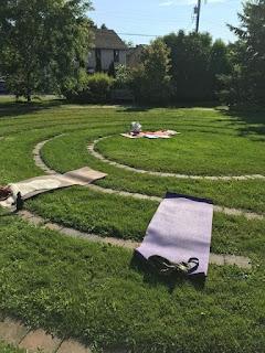 Yoga mats on labyrinth