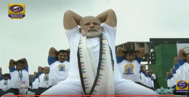 Like last year, Modi personally lead the yoga programme at Chandigarh.   After arriving at the venue, he made a speech extolling his contribution to popularising yoga  all over the world and green-flagged the programme.   As the yoga session began, he initially took a stroll among other participants leading many to think he may not take part personally.