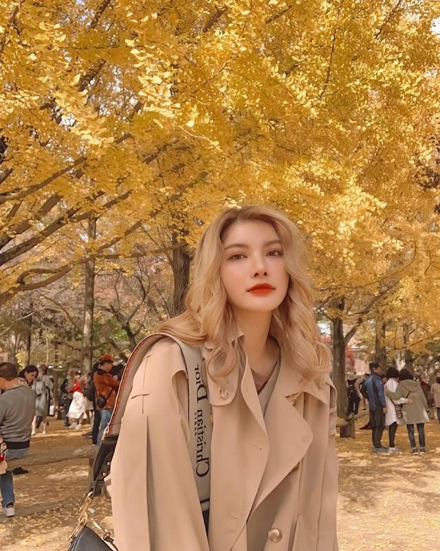 Take check-in photo at the Korea's autumn heart island