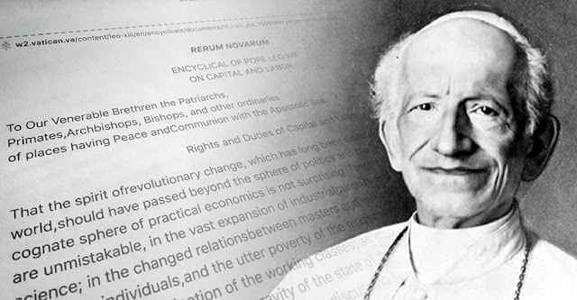 "A photomontage of Pope Leo XIII and his encyclical ""Rerum Novarum"""